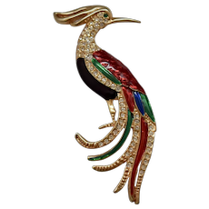 """Large 4"""" Colorful Enamel & Rhinestone Bird of Paradise Figural Gold Plated Brooch / Pin"""