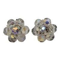 c1950s Austrian Crystal Aurora Borealis Glass Bead Cluster Clip Earrings
