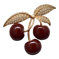 Signed Joan Rivers Large Luscious Deep Red Cherry Figural & Rhinestone Brooch / Pin