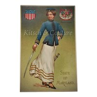 c1908 UNUSED State of Maryland Embossed Beautiful Lady in Blue Silk Uniform w/ Sword & State Seal Art Postcard