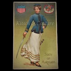 c1908 UNUSED State of Maryland Embossed Beautiful Lady in Blue Silk Uniform w/ Sword & State Seal Art Postcard