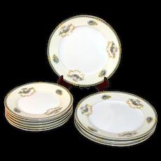 10-Pc Noritake Romance Yellow & White Floral Motif Porcelain Salad / Bread and Butter Plate Set