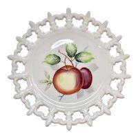 Lefton China Hand Painted Fruit Motif Reticulated Fleur-de-Lis White Porcelain Decorative Plate