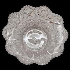 American Brilliant Deep Cut Daisy & Hobstar Sawtooth Edge Crystal Glass Bowl