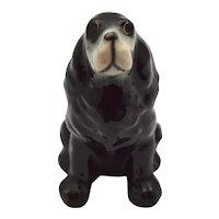 c1940s Black Bassett Hound Hand Painted Ceramic Dog Figurine