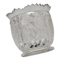 c1910 Higbee EAPG Paneled Thistle Sawtooth Edge Heavy Glass Toothpick Holder