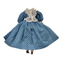Headless China Doll in Blue & White Dotted Cotton Dress w/ Lace Scarf, Petticoat & Lace Pantaloons w/ Hands & Brown Shoes