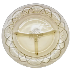 c1930s Federal Glass Rosemary Amber Yellow Depression Glass Divided Dish / Relish Plate