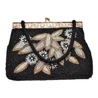 Stunning Mid-Century Double-Sided Floral Motif Black Beaded Rhinestone Handbag Purse - Made in Hong Kong