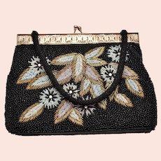 Stunning Mid-Century Double-Sided Floral Motif Black Beaded Rhinestone Handbag Purse - Made in Hong Kong