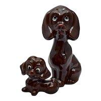 Mid-Century Pair of Chocolate Brown Labrador Retriever Mama Dog w/ Pup Ceramic Figurines
