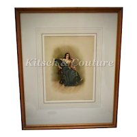 """c1890 Original Antique """"Katharina"""" Taming of the Shrew Shakespeare Color Lithograph Art Print after C.R. Leslie in Gold Gilt Wood Frame"""