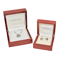 Hot Diamonds Sterling Silver Heart Pendant Necklace w/ Matching Pierced Stud Earrings in Original Boxes