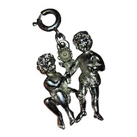 Mid-Century Double Sided Large Silver Tone Cupid Nymphs with Flowers Charm