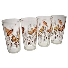Set of 4 Libbey Gold Butterfly & Wheat Pattern Tumbler Glasses - 2 Sets Available