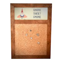 """""""Gnome Sweet Gnome"""" Mushroom & Gnome Needlepoint Embroidery Cork Board in Stacked Wood Frame w/ 5 Pewter Tack Pins"""