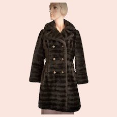 Mid-Century Striated Chocolate Brown / Black Faux Fur Double Breasted Coat for Child or Very Petite Woman - XS