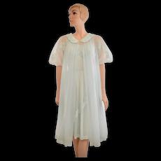 c1960s 2-Pc Shadowline Light Blue Chiffon & Lace Halter Baby Doll Nightgown w/ Matching Puff Sleeve Peignoir