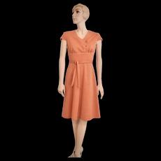 c1960s Jerrell of Texas Textured Orange Button Front & Waist Tie Knee Length Dress