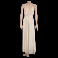 c1970s Olga Designer Wedding White Nylon & Lace Halter Long Maxi Nightgown Style #92001 - Size Small
