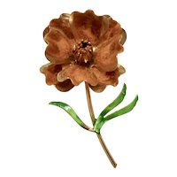 Unusual Mid-Century Large Flocked Orange Enamel Gold Tone Flower Brooch / Pin