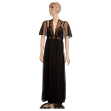 c1970s Kayser Black Chiffon, Nylon & Lace Halter Maxi Nightgown w/ Matching Butterfly Sleeve Peignoir Set - Size Small