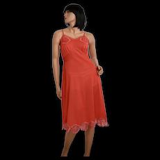 c1950s Charmode Bombshell Red Nylon Hibiscus Flower Embroidery Full Slip ~ Size 36