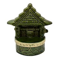 "c1970s UPCO H. Huberman ""Wishing You Well"" Wishing Well Figural Green Ceramic Planter"