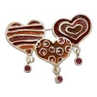 AJMC Signed Painted Enamel Triple Heart w/ Pink Rhinestone Dangle Brooch / Pin