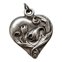 Small Pewter Heart with Embossed Flowers & Scrollwork Charm or Pendant