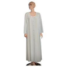 Shadowline Sophisticated Powder Blue Nylon & Lace Fabric w/ Pearlescent Buttons Long Maxi Robe