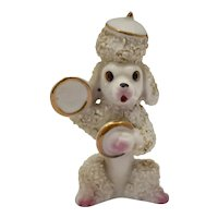 c1950s Spaghetti Style Hand Painted Porcelain Poodle Dog Playing Musical Cymbals Figurine
