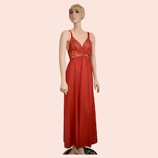 c1970s Olga Designer Lipstick Red Nylon & Lace Halter Wide Sweep Maxi Nightgown - Style # 9291 BodyLace - Size Small