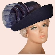 Sylvia of New York - St. Louis Navy Blue Wool Upturned Brim Statement Tulle Bow Hat