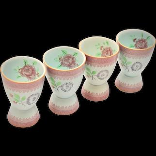 Adams China Calyx Ware England Older Lowestoft Set of 4 Hand Painted Pink Rose Aqua China Egg Cups
