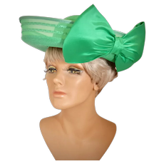 Sylvia New York - St. Louis Emerald Green Statement Bow Wide Brimmed hat