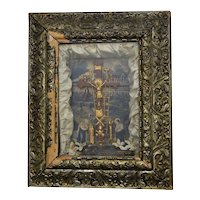 """c1877 Victorian """"Thy Kingdom Come"""" Religious Mixed Media Assemblage w/ Christian Crucifix Diorama Shadow Box in Ornate Wood Frame"""