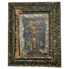 "c1877 Victorian ""Thy Kingdom Come"" Religious Mixed Media Assemblage w/ Christian Crucifix Diorama Shadow Box in Ornate Wood Frame"