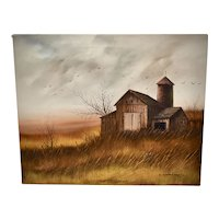 """Signed Everett Woodson """"Old Barn in a Pasture"""" 24 x 20"""" Oil on Canvas Painting"""