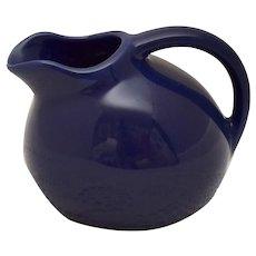 Small Cobalt Blue Ceramic Pottery Ball Jug Pitcher