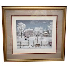 """Michel Delacroix Signed & Numbered 35 x 32"""" Large Snowy Winter Scene Naive Art Serigraph in Wood Frame"""