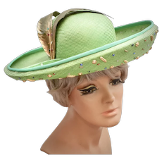 Jack McConnell Boutique Light Green Rhinestone & Gold Faux Feather Hat