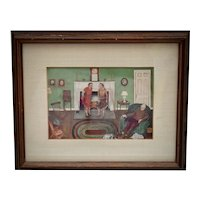 Two Ladies at the Fireplace Art Print in Rustic Wood Frame
