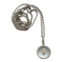 c1940s Sterling Silver Matthew 17:20 Mustard Seed in Domed Glass Bubble Faith Amulet Pendant Necklace