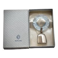 Web Sterling Mid-Century Sterling Silver Baby Bell Rattle & Blue Pearlescent Lucite Circle Teething Ring in Original Box