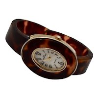 c1980s Swiss Gold Faux Tortoise Lucite Oval Face Japanese Movement Hinged Cuff Watch