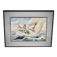 """Signed W. M. Weber Artist Original """"Sailboat on the Water"""" 16 x 20"""" Watercolor Painting w/ Blue Double Mat in Deep Gray Frame"""