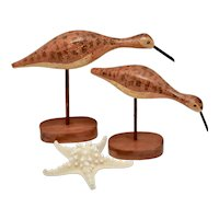 Pair of Handcrafted Folk Art Seagull / Shore Bird Carved Wood Figurines