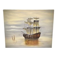 """Artist Garcia Signed 24 x 20"""" Mysterious Pirate Sailing Ship Original Oil on Canvas Painting"""