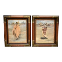 Artist Annie Lee Coordinating Pair of African Man, Woman & Child Color Lithograph on Canvas in Original Wood Frames